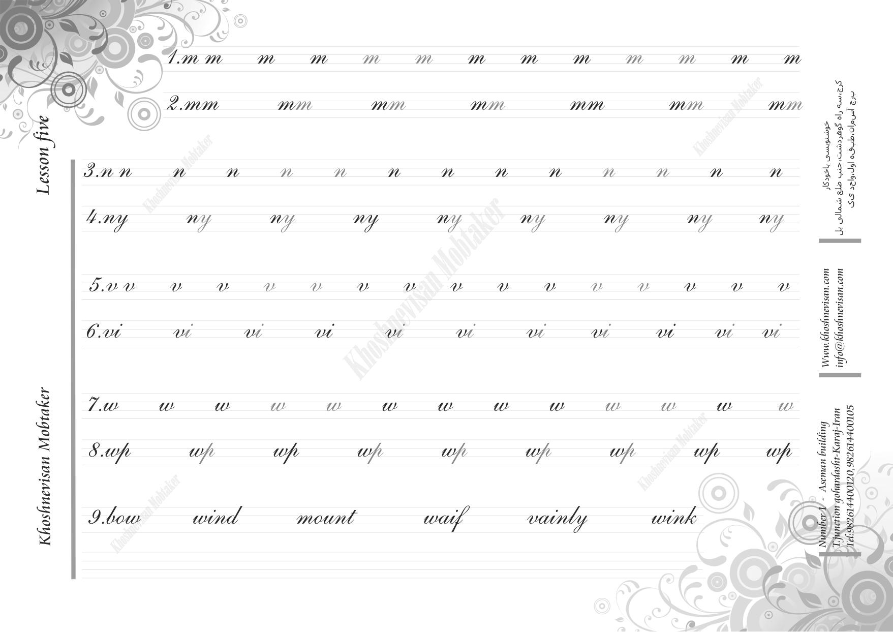 آموزش حروف هندرایتینگ